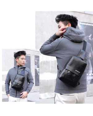 MC563 RD3 Urban City Design Man Leather Chest Pouch Bag Crossbody Men Sling Beg Lelaki