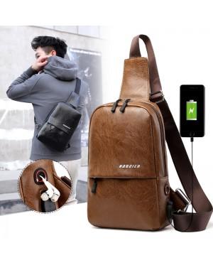 MC563 RD3 Urban City Design Man Leather Chest Pouch Bag Crossbody Men Sling Beg Lelaki