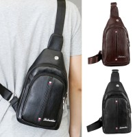 Man Black Brown Leather Chest Bag Men Crossbody Cool Sling Bag MC559 RD2