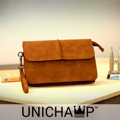[Unichamp] MC383 Man Classic Brown Cool Leather Hand Carry Clutch Bag MWB