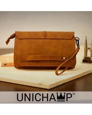 [Unichamp] MC383 Man Classic Brown Cool Leather Hand Carry Clutch Bag LB4