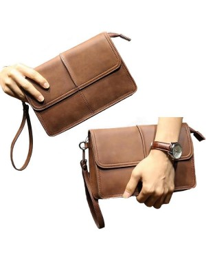 Man Classic Brown Cool Leather Hand Carry Clutch Bag MC383 LB4  MWB