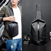 Man Black Nylon Chest Pouch Bag Men Crossbody Beg Cool Stylish Sling Bag MC570 RD3