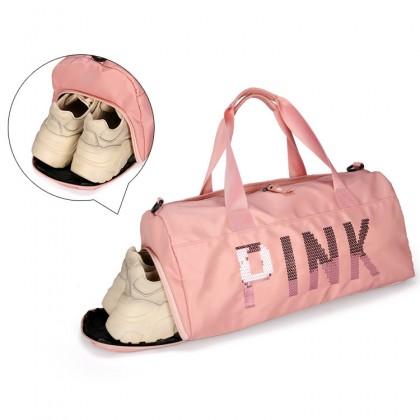 MC571 Woman PINK Design Shoe Slot Colorful Women Shoulder Sling Travel Bag