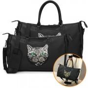 Woman Kitty Design Elegant Women Shoulder Sling Travel Bag MC555 RG2