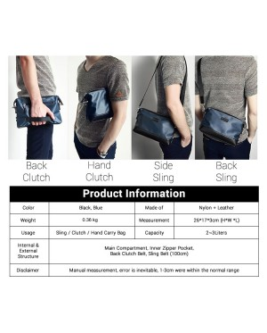 Man Black Blue Hand Carry Clutch Bag Men Stylish Sling Beg MC558 RD2