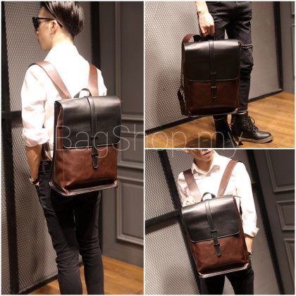 Man Classic Leather Backpack Men Cool Stylish Laptop Backpack MC572
