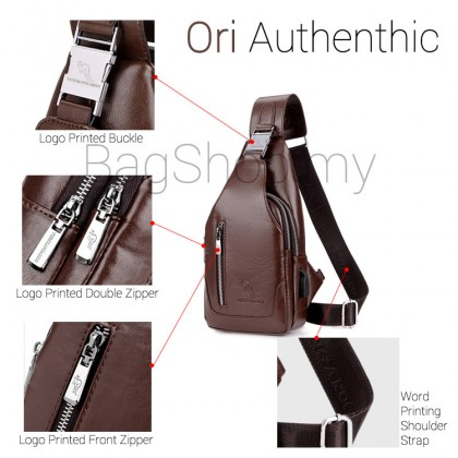 Man Classic Leather USB Chest Pouch Men Crossbody Stylish Sling Beg MC568 RB4