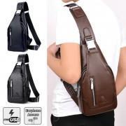 Man Classic Leather USB Chest Pouch Men Crossbody Stylish Sling Beg MC568 RB4