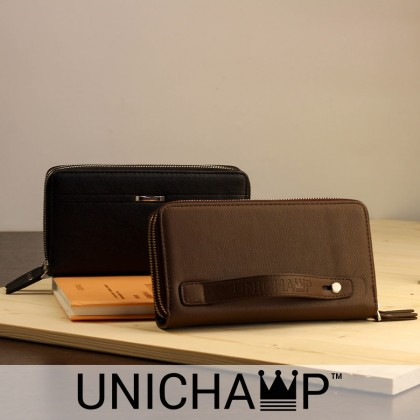 [Unichamp] MC226 Elegant Man's Hand Carry Wallet / Multi-purposes Large Quality Leather Wallet