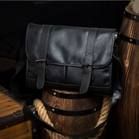 Man Black Pu Leather Sling Bag Men Stylish Cool Messenger Beg Lelaki MC574 RB2