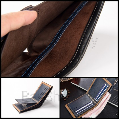 Man Brown / Coffee / Blue Pu Leather Classic Short Wallet DR002 RH2