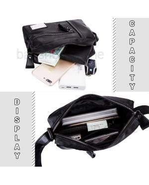 Man Black Leather Sling Bag Men Stylish Design Crossbody Beg MC592 RD3