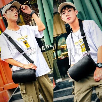 Man Black Stylish Barrel Design Sling Bag Men Crossbody Beg MC593 RD5