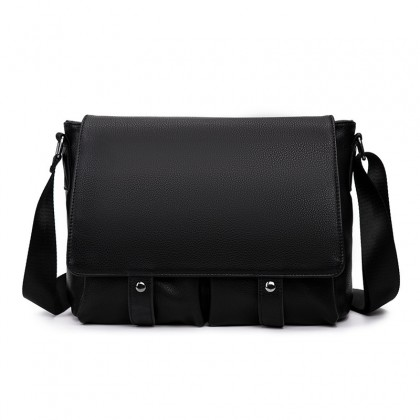 MC594 Man Black Leather Sling Bag Men Stylish Messenger Bag