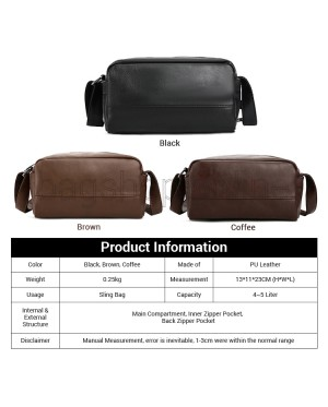 Man Elegant Leather Sling Bag Men Stylish Design Crossbody Beg MC595 RD4