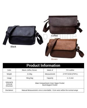 Man Classic Leather Sling Bag Men Casual Crossbody Beg MC588 RD6