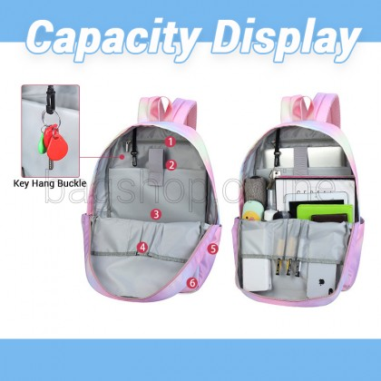 Girl Nylon Galaxy Pinky Fashion Casual Backpack College Student Bag MC584 RC5