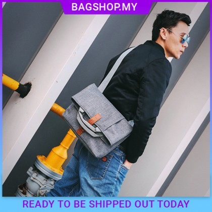 MC598 Man Nylon Dark Grey Sling Bag Men Cool Messenger Bag