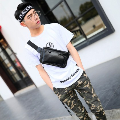 Man Classic Chest Pouch Bag Pu Leather Crossbody Beg Lelaki MC601