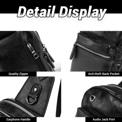 Man Classic Leather Chest Pouch Bag Stylish Sling Beg Design Lelaki MC603 RB2