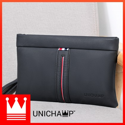 [Unichamp] MC800 Man Stylish Strips Leather Clutch Hand Carry Bag Large Wallet