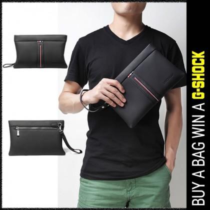 [Unichamp] Man Stylish Strips Leather Clutch Hand Carry Bag Large Wallet MC800 LA3
