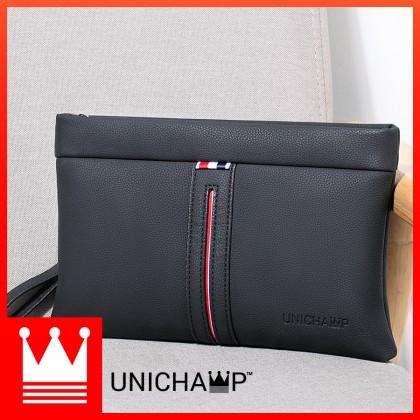 [Unichamp] Man Stylish Strips Leather Clutch Hand Carry Bag Large Wallet MC800