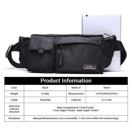 Man Nylon Sport Waist Pouch Stylish Cool Crossbody Beg MC605 RB2