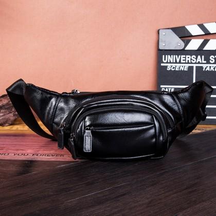 Man PU Leather Sport Waist Pouch Stylish Cool Crossbody Beg MC606 RB2