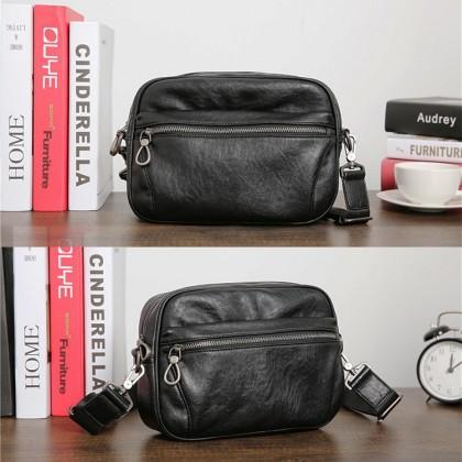 MC607 Man PU Leather Messenger Bag Capacity Stylish Cool Sling Beg