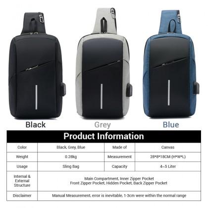 MC608 Man Sling Canvas Cool Bag Stylish Large Capacity Crossbody Beg Lelaki