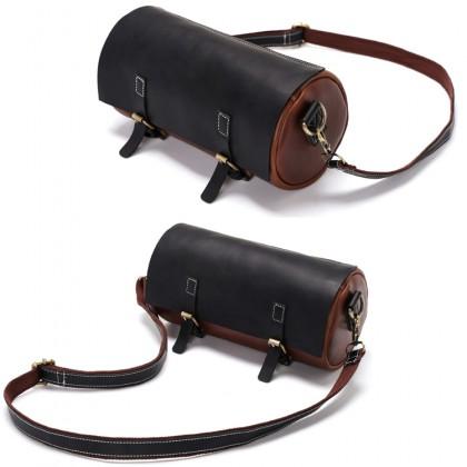 MC609 Man PU Leather Mix Barrel Design Sling Bag Cool Stylish Messenger Beg Lelaki