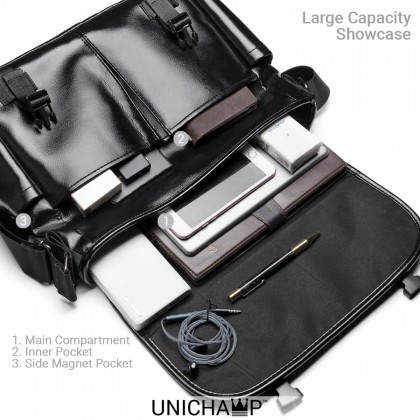 [Unichamp] MC801 Man Classic Leather Messenger Bag Large Capacity Stylish Sling Beg MSB