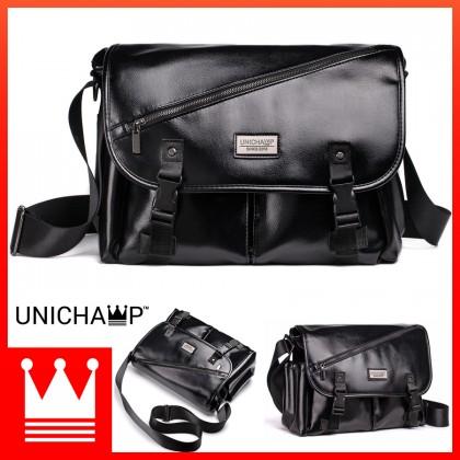 [Unichamp] Man Classic Leather Messenger Bag Large Capacity Stylish Sling Beg MC801
