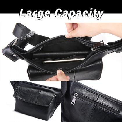 MC612 Man Pu Leather Chest Pouch Hand Carry Stylish Design Crossbody Bag