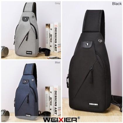 MC625 [Weixier] Man Canvas Chest Pouch Bag Stylish Design Crossbody Beg