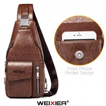 MC626 [Weixier] Man Classic Leather Chest Pouch Stylish Crossbody Beg Lelaki