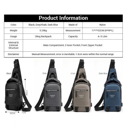 MC635 Man Nylon Stylish Sling/Backpack Casual Design Chest Pouch Beg Lelaki