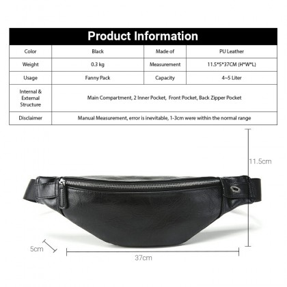 MC638 Man Classic Leather Fanny Pack Cool Stylish Design Waist Pouch Beg Lelaki