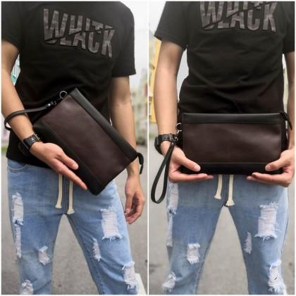 PP452 TI_ Man Hand Carry Clutch Bag Dark / Beg Tagan Kulit PU Brown MWB