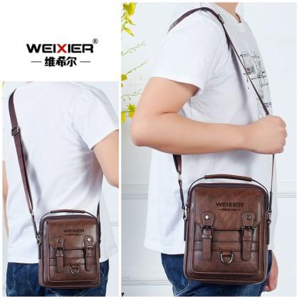 MC645 LB3 [Weixier] Man Classic Leather Messenger Bag Business Stylish Sling Beg Lelaki