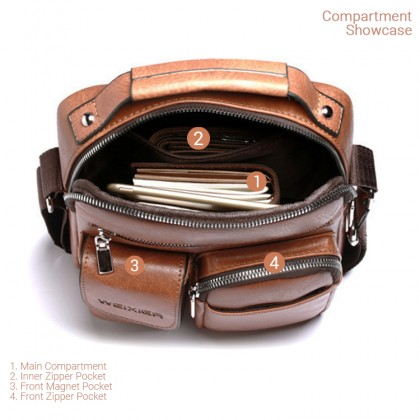 MC647 LC3 [Weixier] Man Extra Pocket Classic Leather Messenger Bag Stylish Crossbody Beg Lelaki