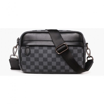 MC642 [Weixier] Man Checkered Sling Leather Casual Shoulder Crossbody Bag Large Capacity Satchel for Teenagers