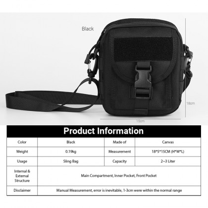 MC662 RH7 Unisex Canvas Mini Tactical Bag Casual Crossbody Shoulder Beg Lelaki