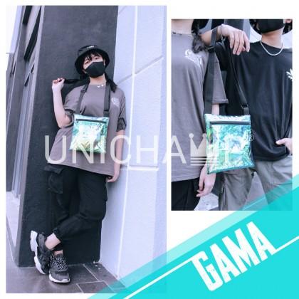 Unisex Streetwear Reflective Cross Body Beg Chest Beg Fanny Pack Transparent Holographic Shoulder Bag Ins Style Men Bag
