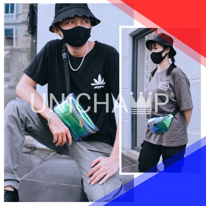 Unisex Streetwear Holographic Fanny Pack Cross Body Bag Trendy Bag Transparent Multicolor Chest Beg Hip Hop Style
