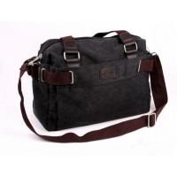 Man Black/Khaki Canvas Durable Messenger Bag Sling Bag K2088 YN1