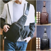 Man Trending Elegant Leather Stylish Large Chest Pouch Bag mc003 (Free Gift)