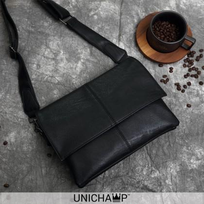 [Unichamp] MC005 Man Charcoal Black Stylish Quality Sling Bag